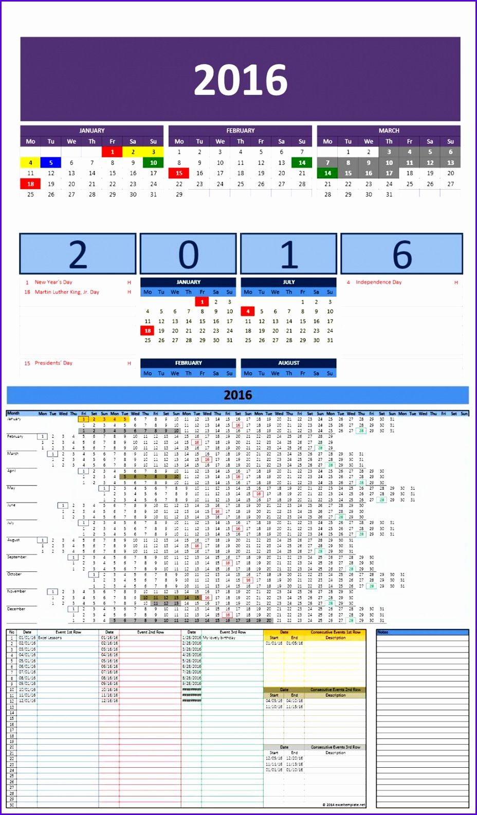 2016 Excel Calendar Templates 9281586