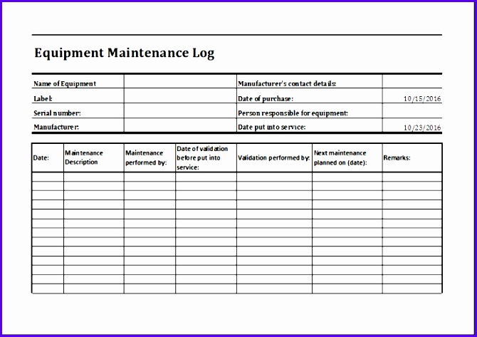 equipment maintenance log Equipment Maintenance Log Template MS Excel