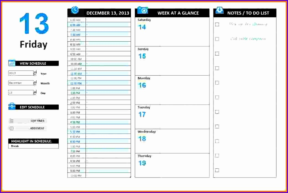 7 Excel Daily Schedule Template 946636