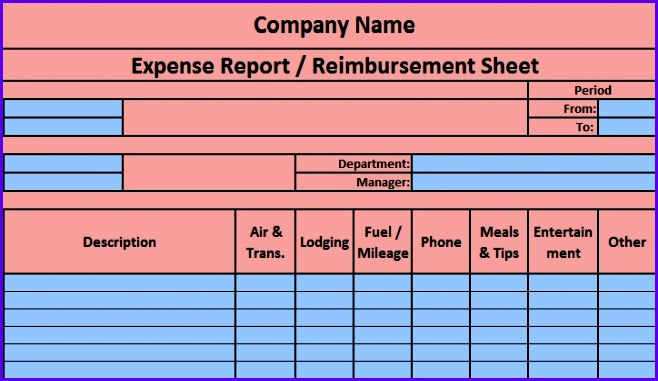 Download Expense Report Excel Template 658381
