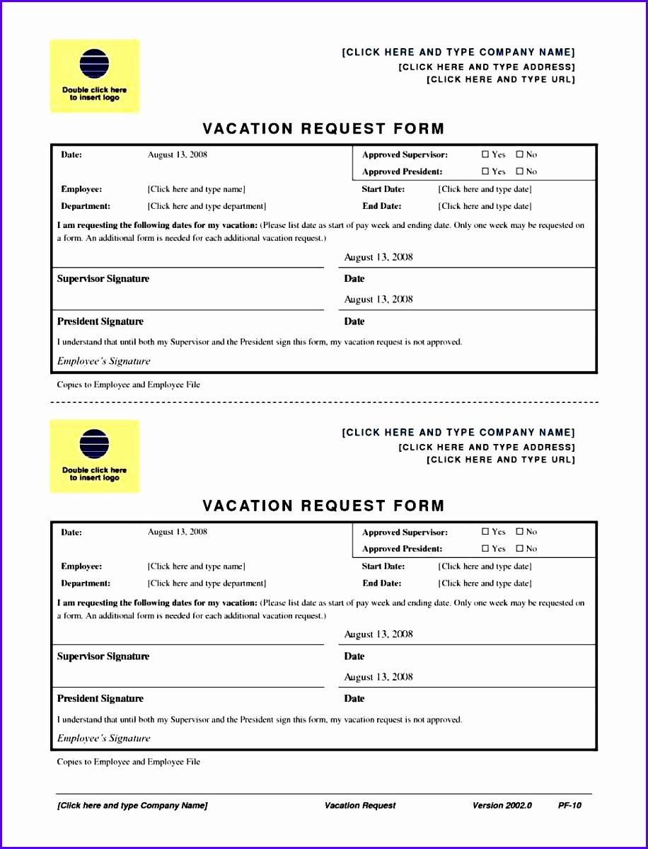 Excel Vacation Request Form Templates 9161199