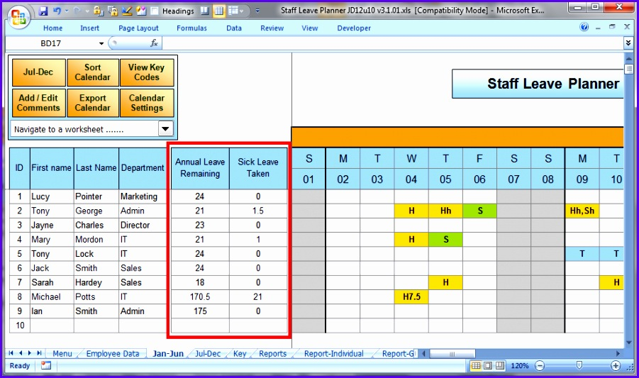 The Staff Leave Calendar A simple Excel planner to manage staff 901533