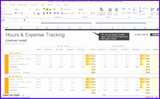 Project Cost Tracker Template For Excel 2013 527326