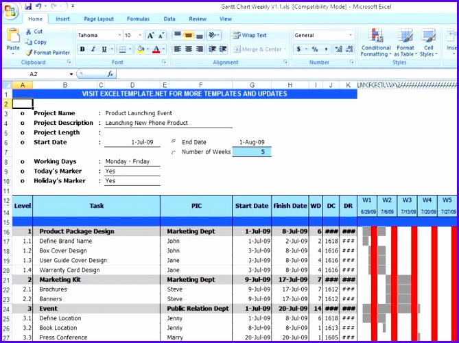 Gantt Chart Excel Template Free Download From exceltemplatesinn Excel Templates Pinterest 669500