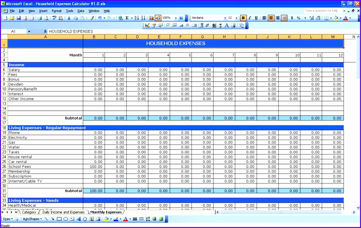 household expenses excel templates excel spreadsheet expenses 1164736
