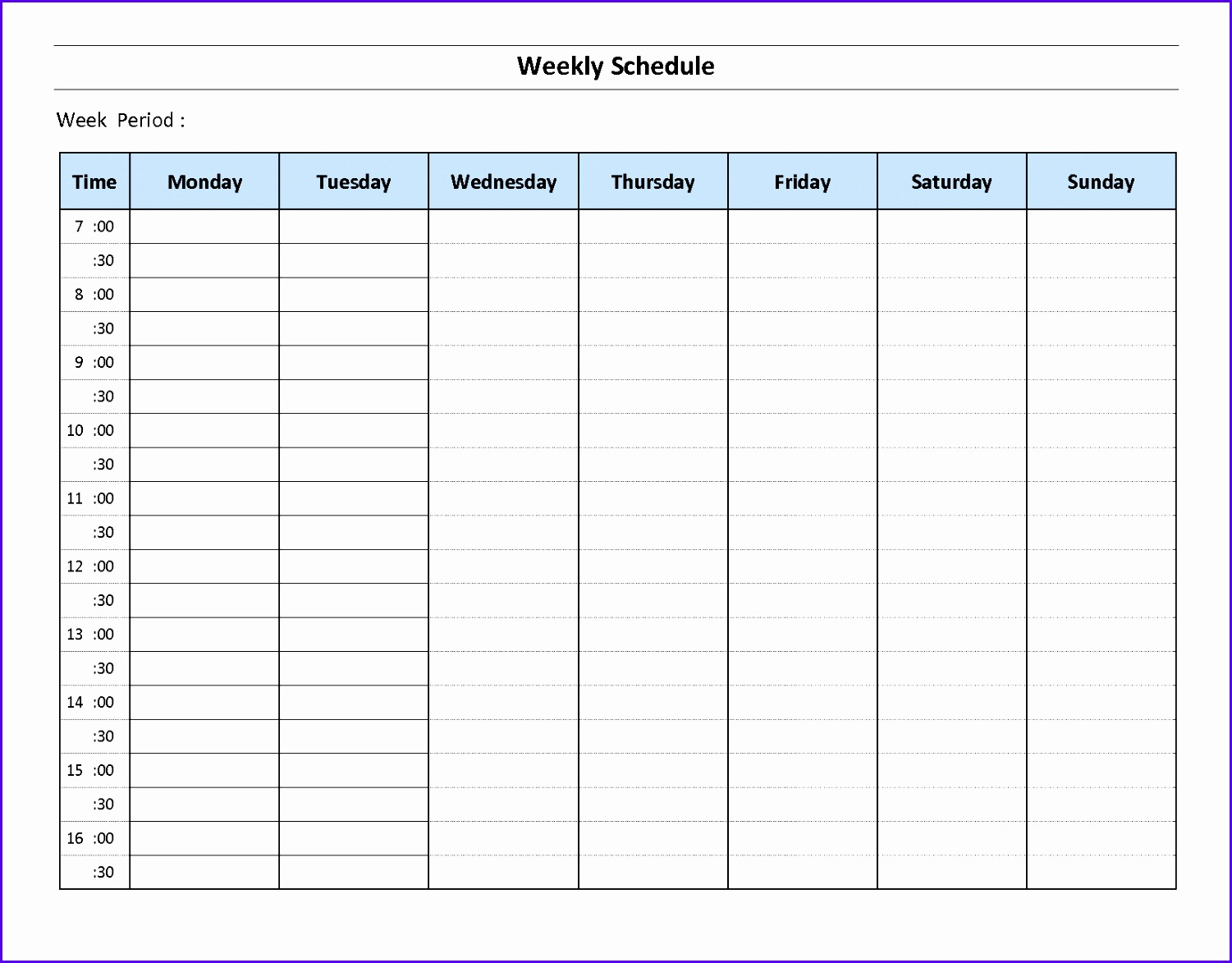 Top 5 resources to free weekly schedule templates word Word Excel Templates