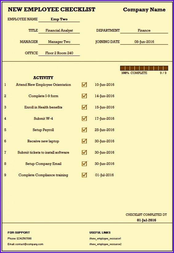 Sample Employee Certificate Employee checklist 565824