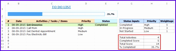Excel To Do List Template pletion calculation 694201