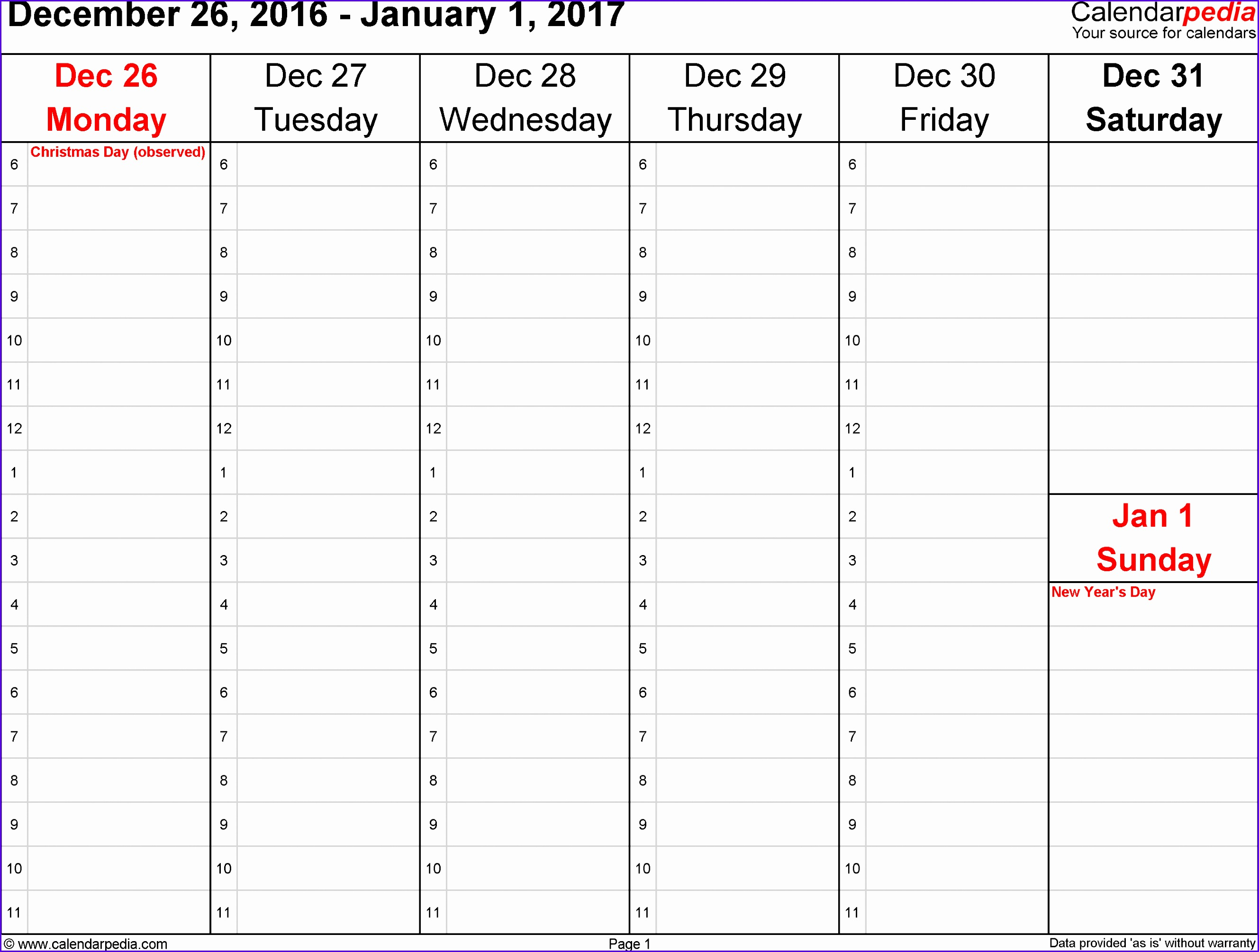 Weekly calendar 2017 for Excel 12 free printable templates 26572010