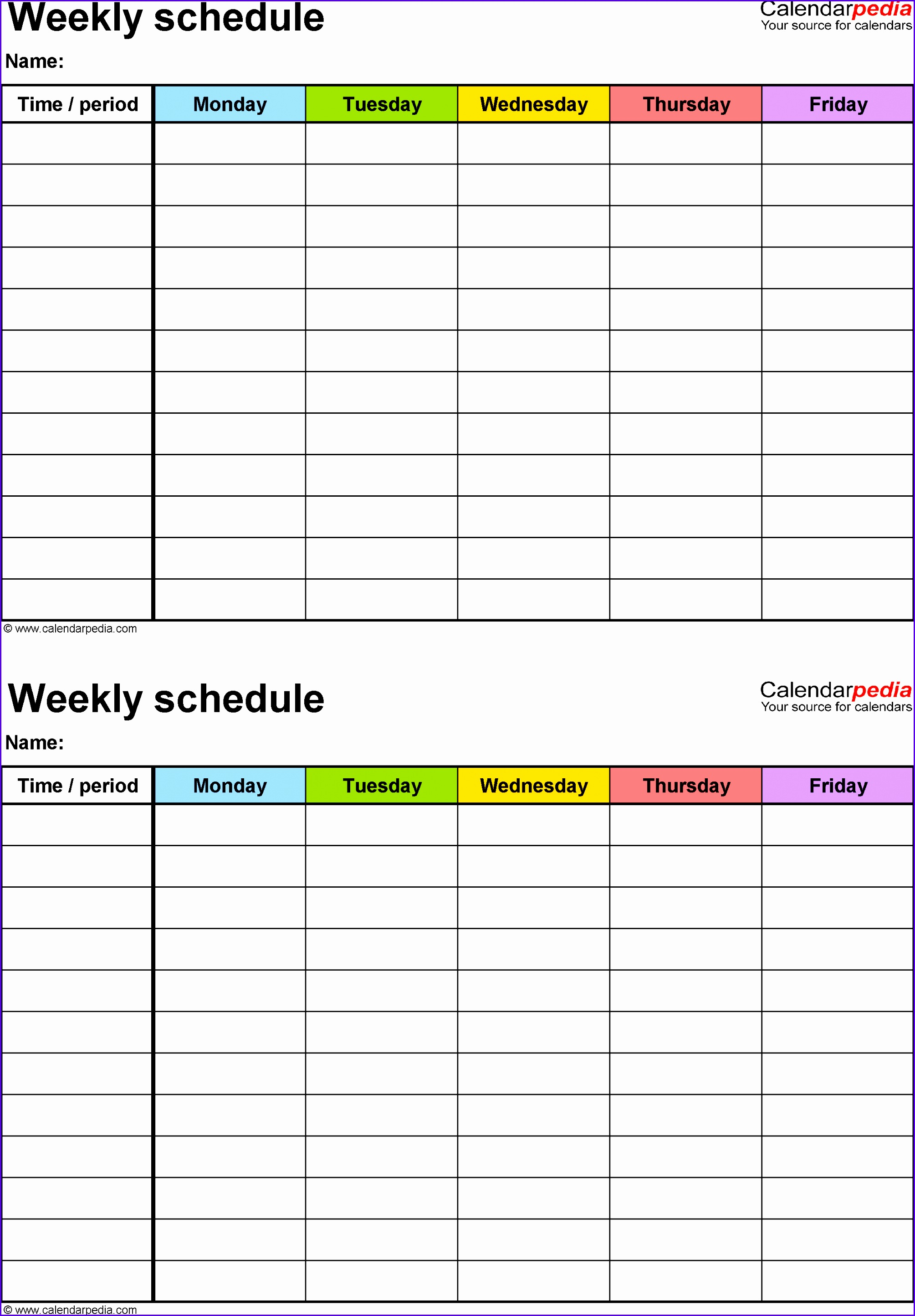 Weekly schedule template for Excel version 3 2 schedules on one page portrait 20092888