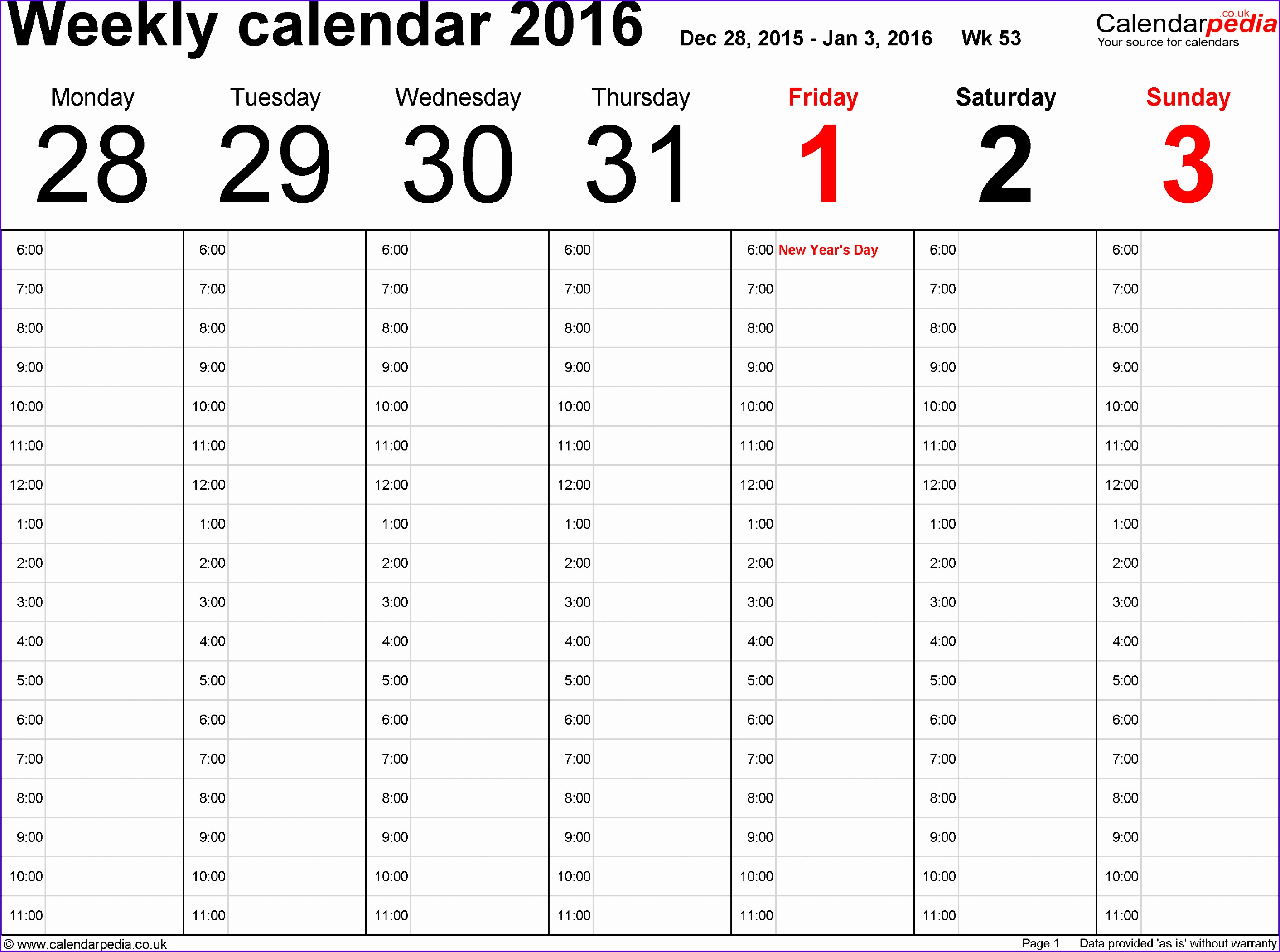 Excel template 1 Weekly calendar 2016 landscape orientation 53 pages 1 calendar 28252102