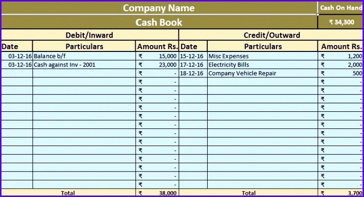 Download Simple Cash Book Excel Template 743402