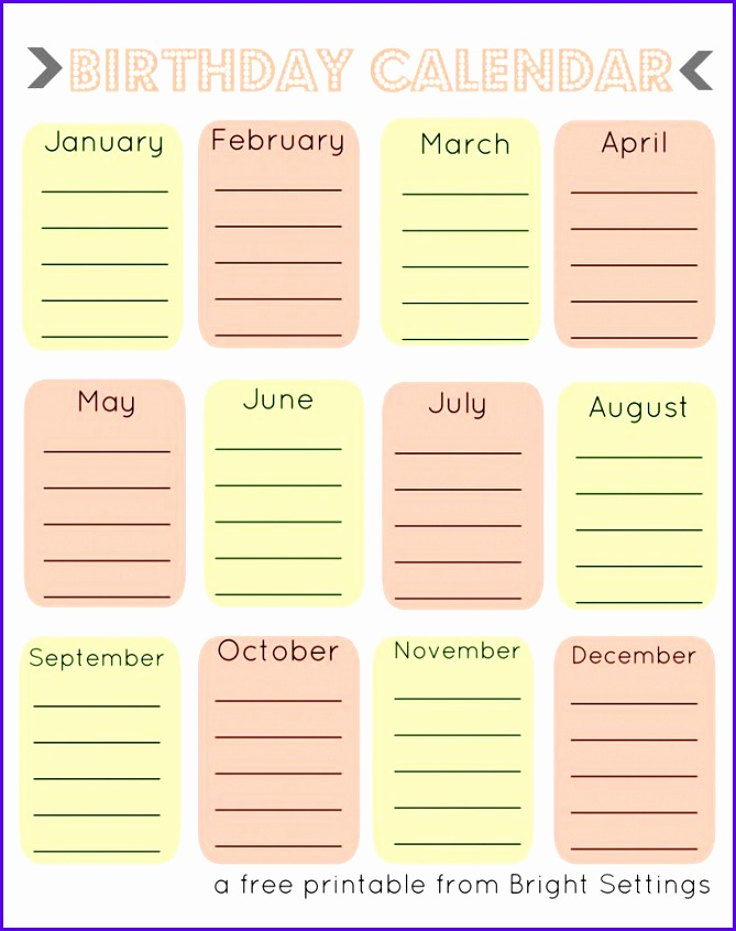 Free Printable Birthday Calendar a perpetual calendar to help you remember all of those 669846