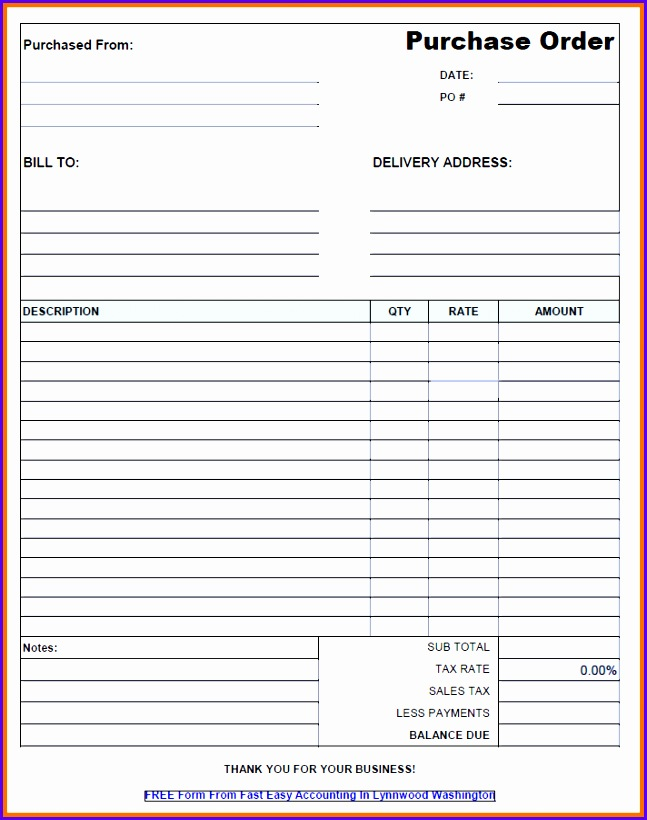 Free Contractor Purchase Order Form Excel From Fast Easy Accounting 647820