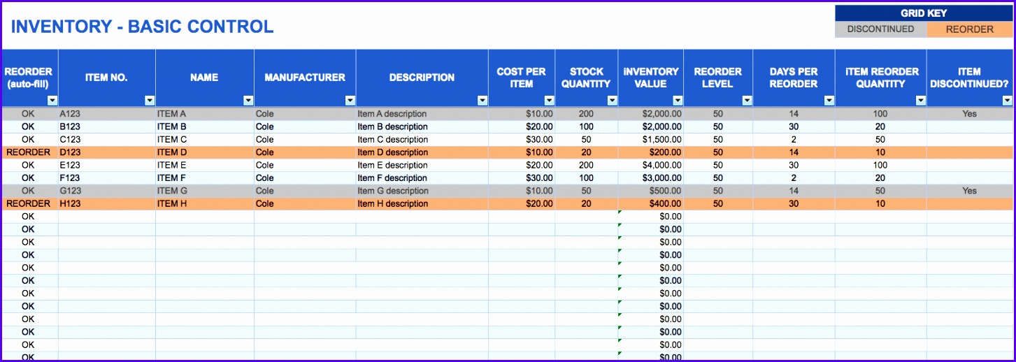 Basic inventory control template Download Excel Template