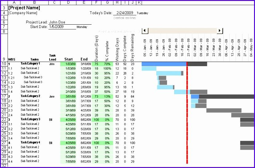 """Excel Gantt Chart Template """""""