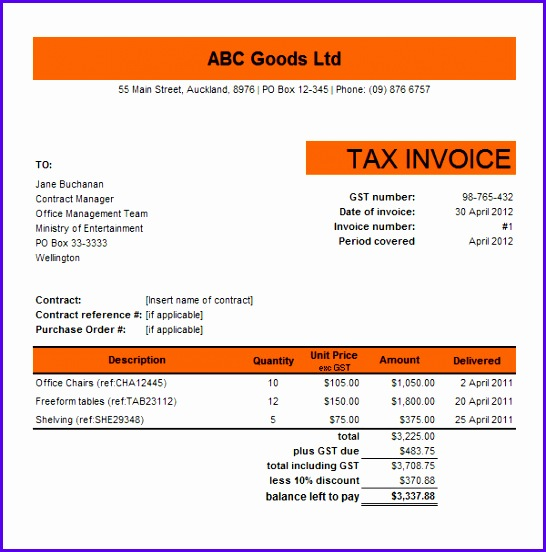 Tax Invoice Excel Template Tax Invoice Template Excel Invoice Example 546552