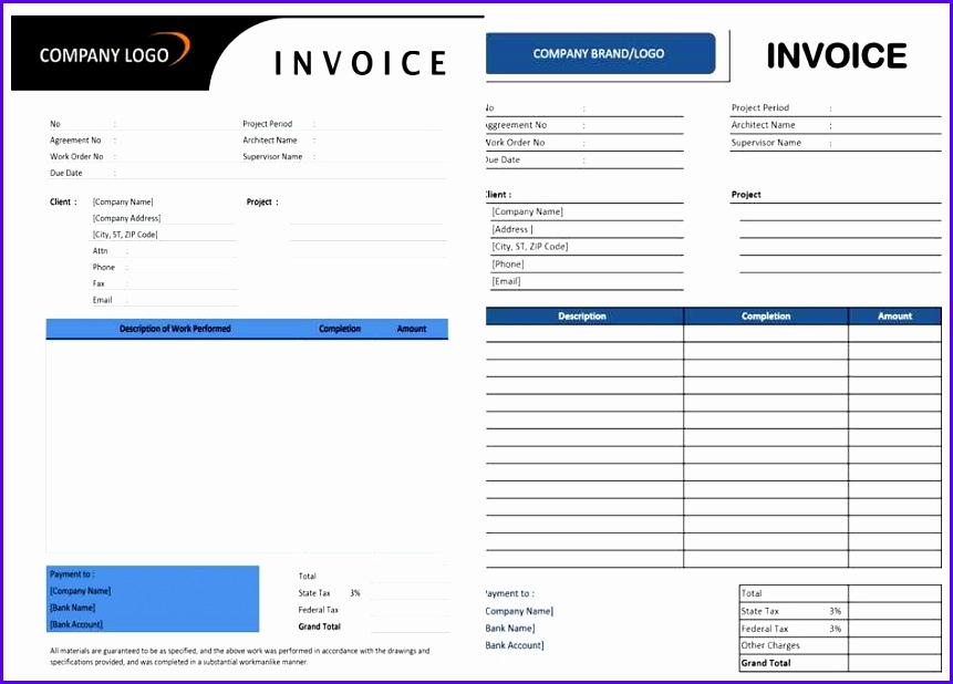 Contractor Invoice Template for Excel and Word