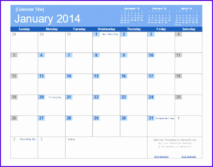 An easy to edit 2014 Calendar Template for Excel 689540