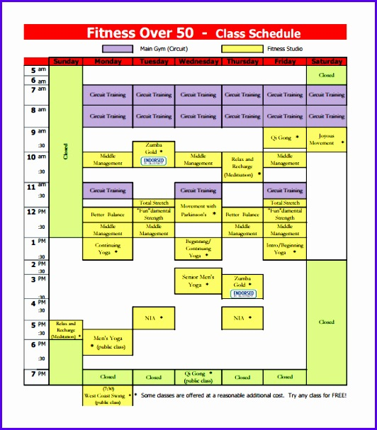 Free Fitness Class Schedule Template PDF Download 532607