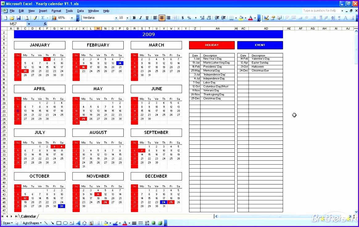 free calendar template excel 1164736