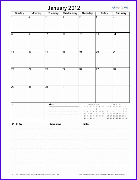 Printable Monthly Planner Template for Excel Monthly Planner 436573