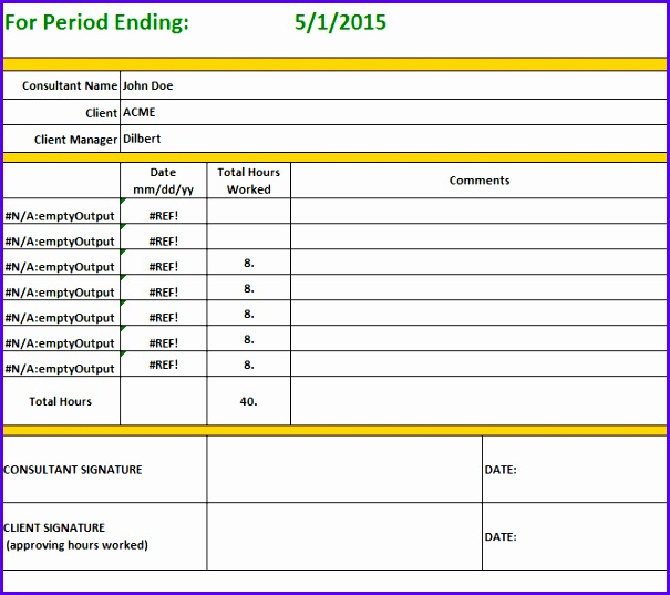 Consultant Weekly TimeSheet Template Excel 605537