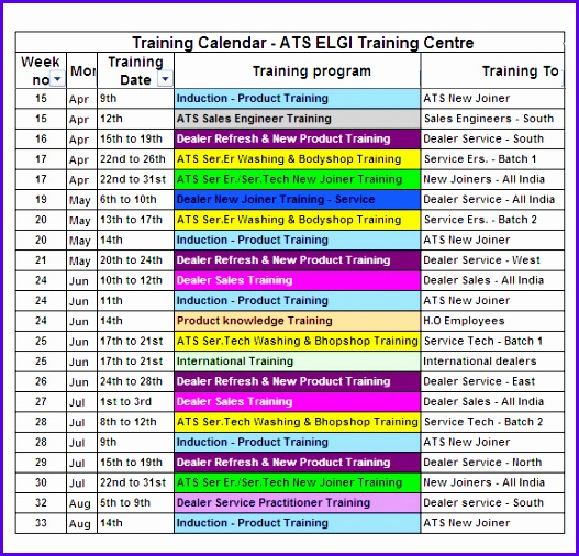 Training Calendar U2013 7 Free Samples Examples Format 527506