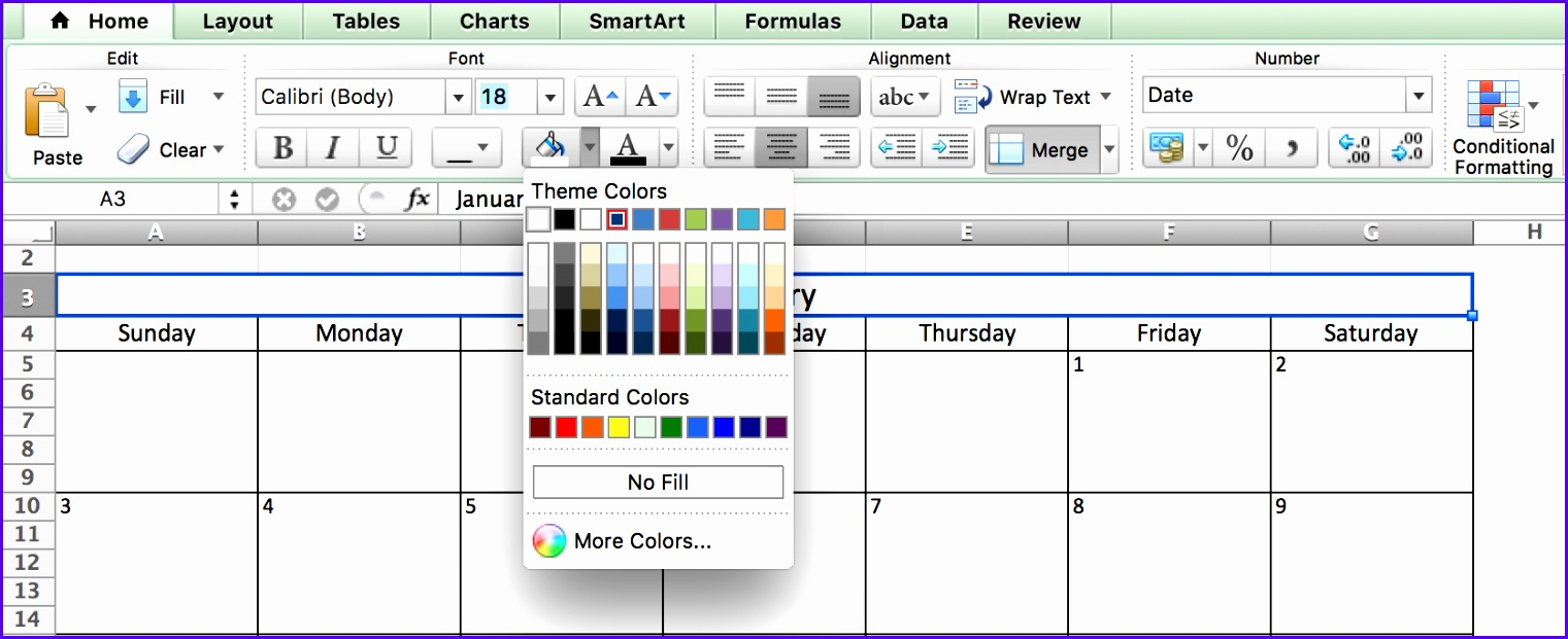Choosing Colors Calendar in Excel