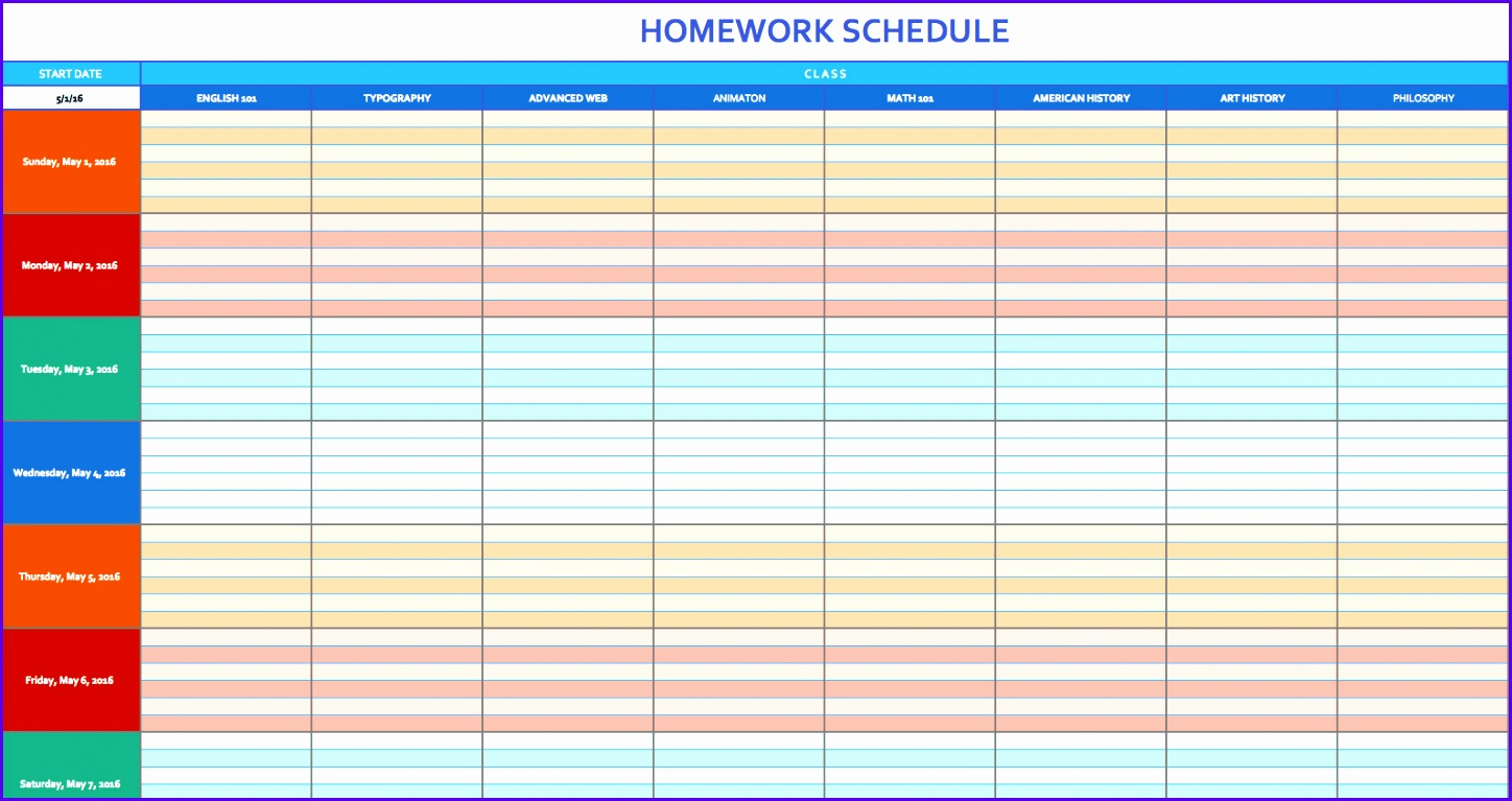 Homework Schedule Template 1448767