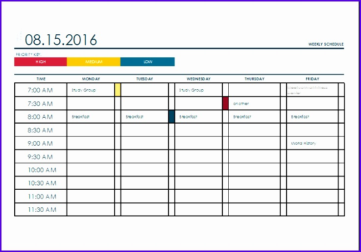 Weekly College Schedule Template 737514