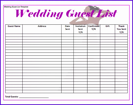 Wedding Invitation List Template Sample Wedding Guest List Template 15 Free Documents In Word Templates 546430