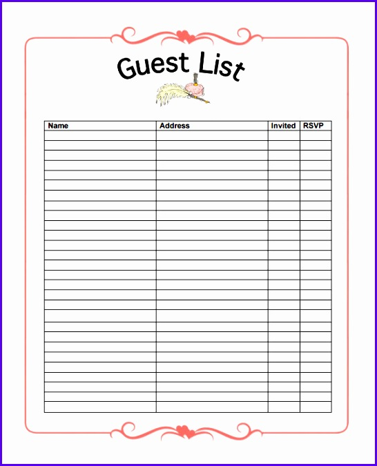 Free Wedding Guest List Template 546675
