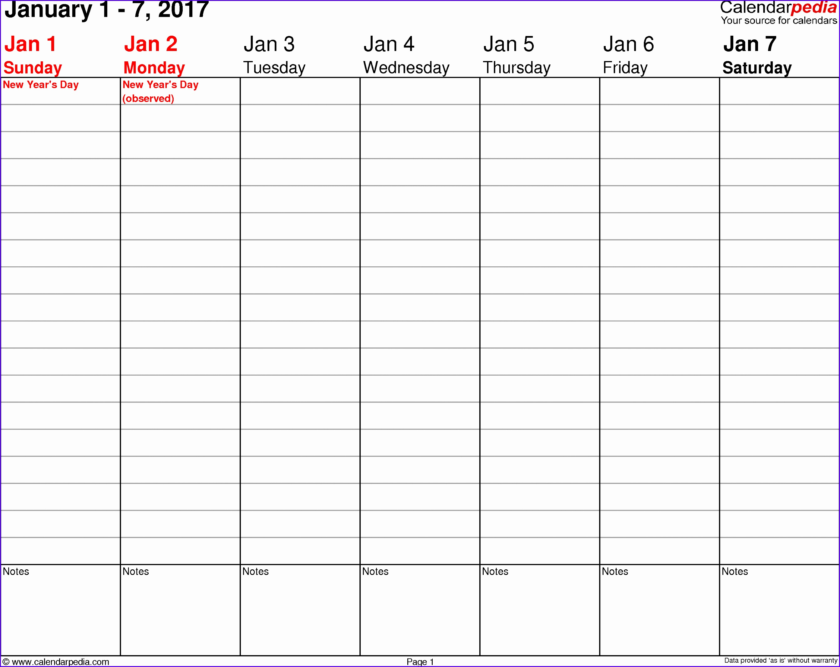 Weekly calendar 2017 template for Excel version 3 landscape 53 pages no