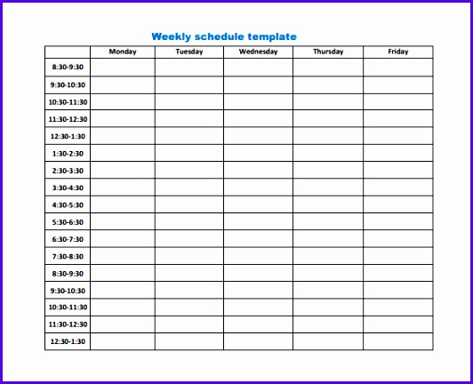 Weekly Work Schedule Template 8 Free Word Excel Pdf Format 532432