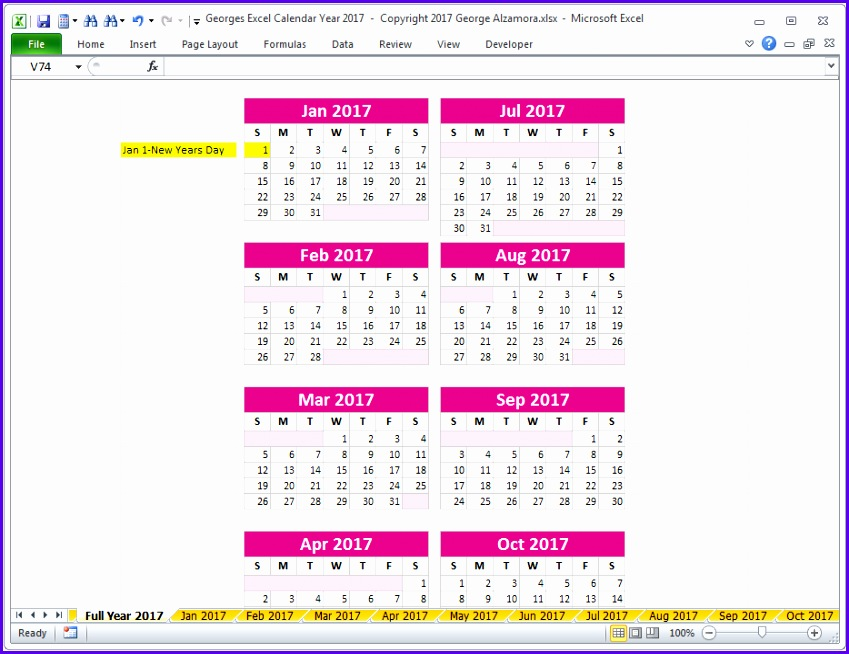 2017 excel full year fitness calendar template 849654