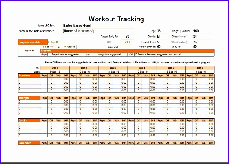 Workout Schedule and tracker template 738529