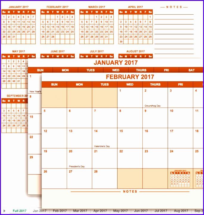 2017 Full Year Calendar Template 685721