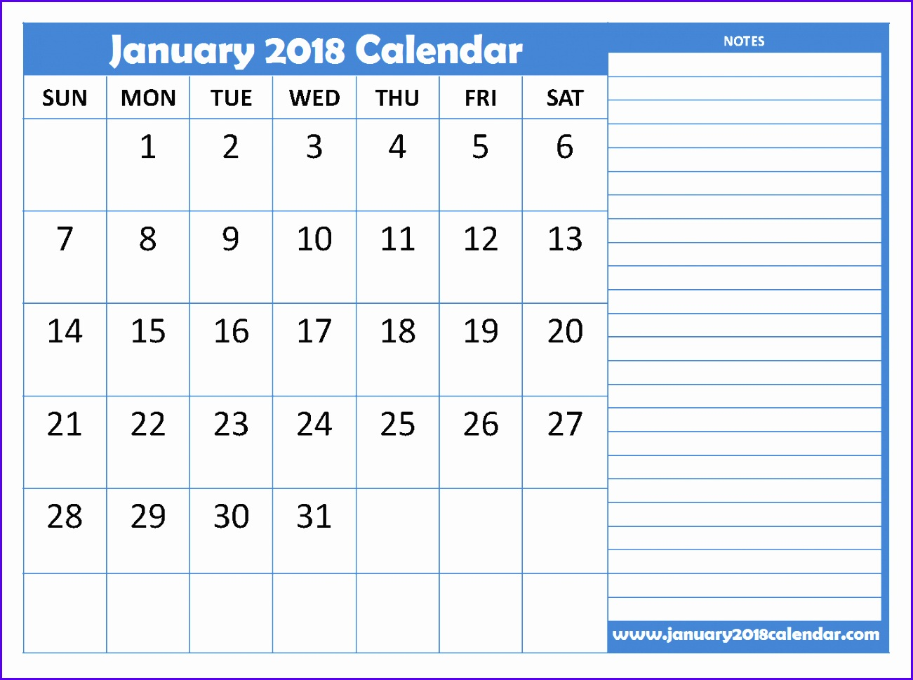 Calendar 2018 January Printable 1301969
