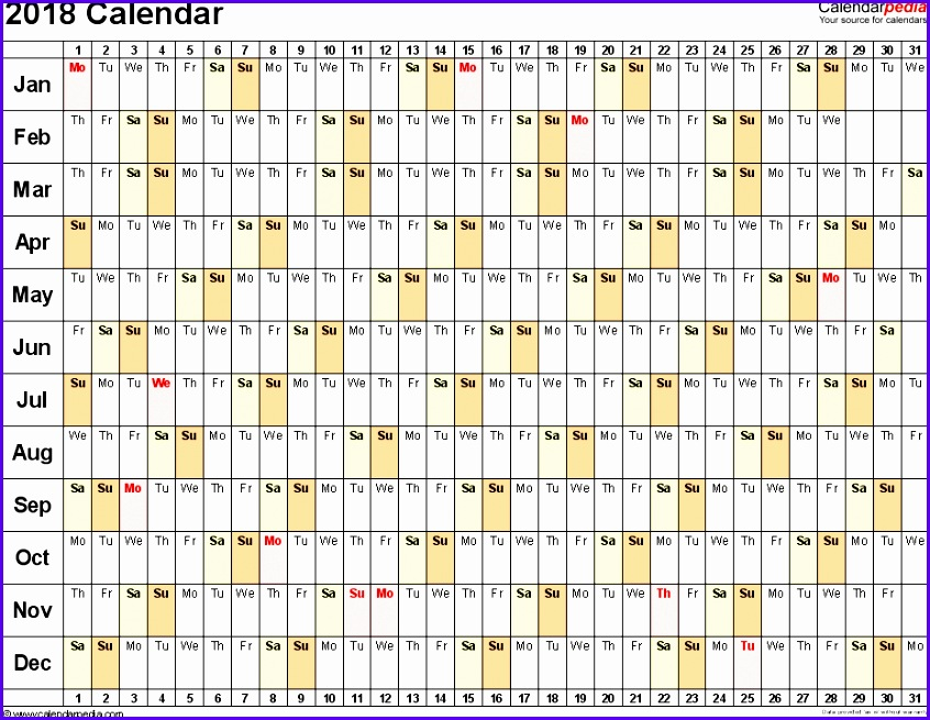 Template 3 2018 Calendar for Excel linear days horizontally 1 page 846655
