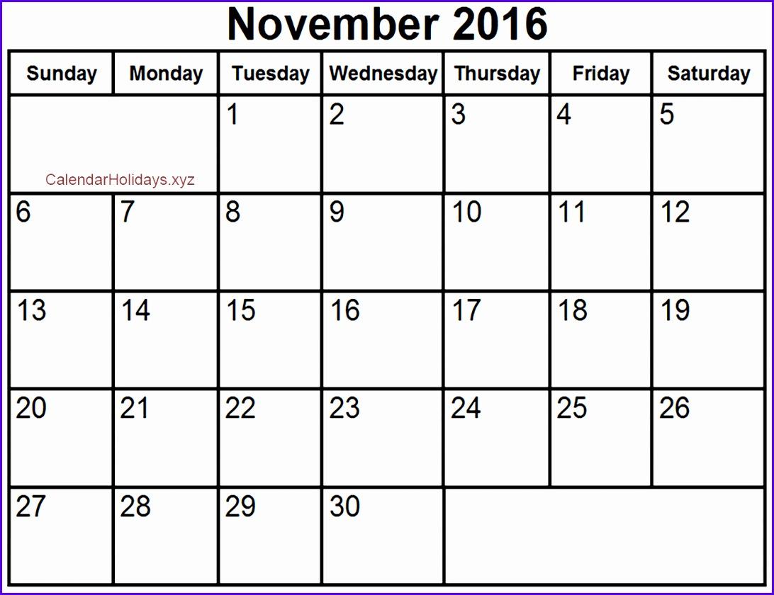 November Calendar 2016 Excel 1092840