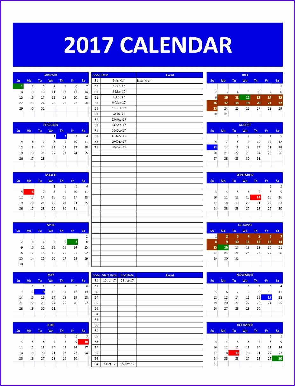 annual calendar excel