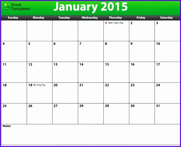 2015 excel calendar