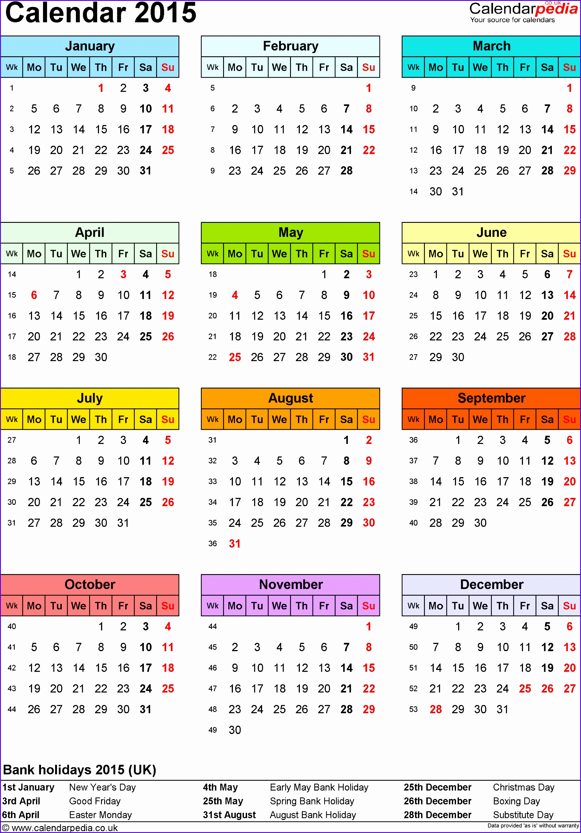 Template 9 Yearly calendar 2015 as Excel template portrait orientation year overview in 20132886