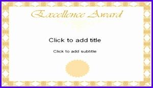 Golden Excellence Award Certificate Template 300174