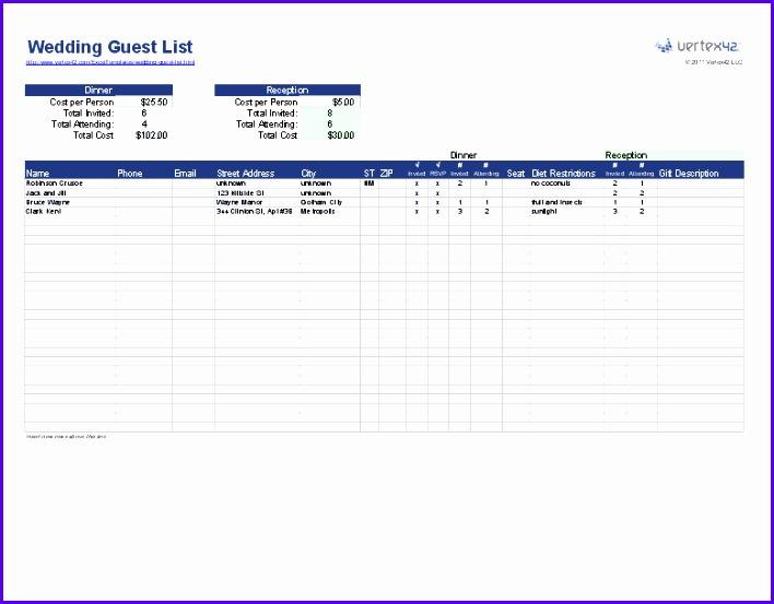 Wedding Guest List Template 708553