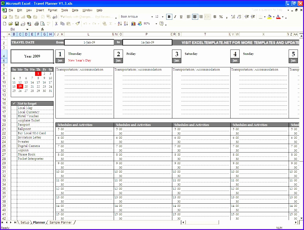 11 day planner excel template