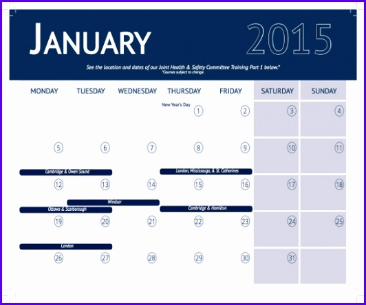 Training Calendar Template – 25 Free Word Pdf Psd Documents 532444