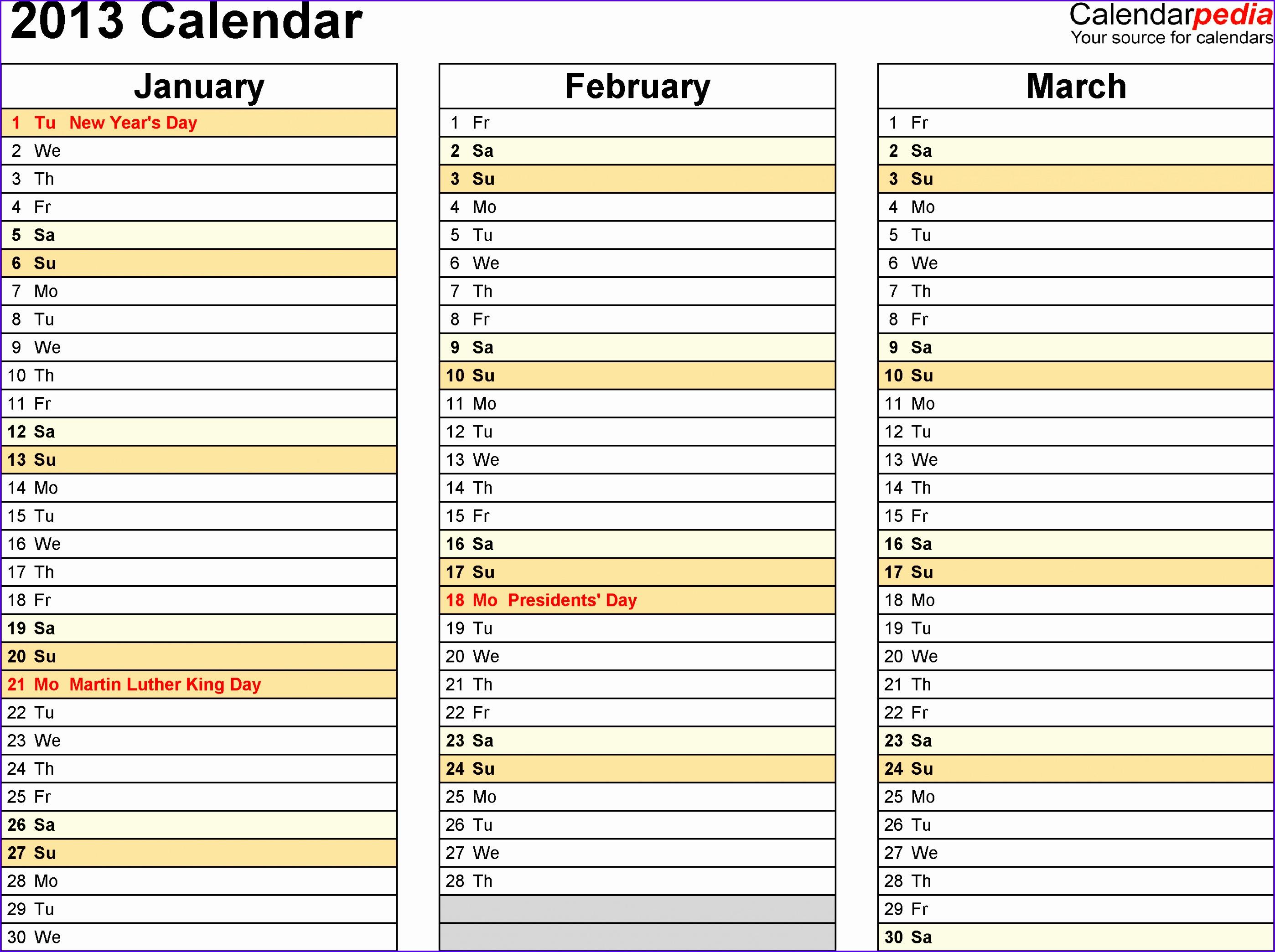 Download Excel template for 2013 calendar template 6 landscape orientation 4 pages months 27962089