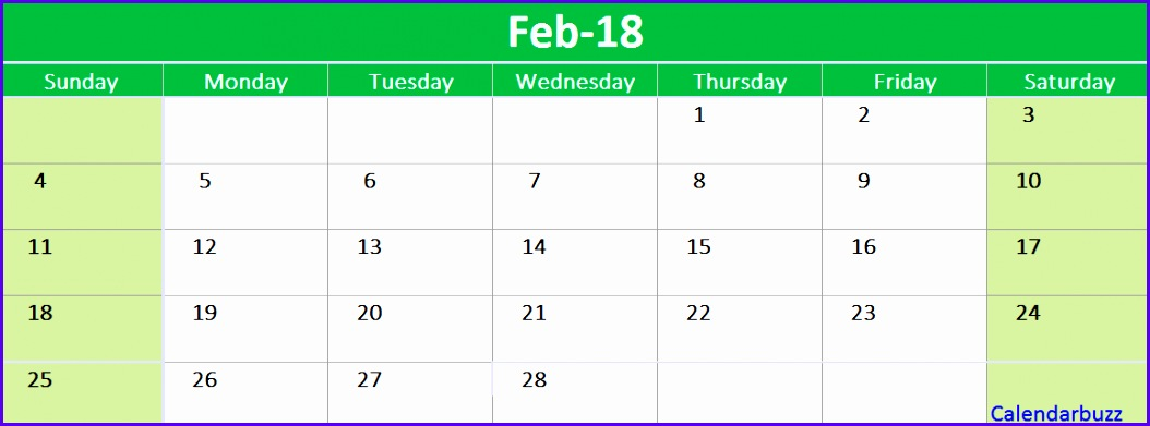 February 2018 Calendar Printable Template Excel 1054391